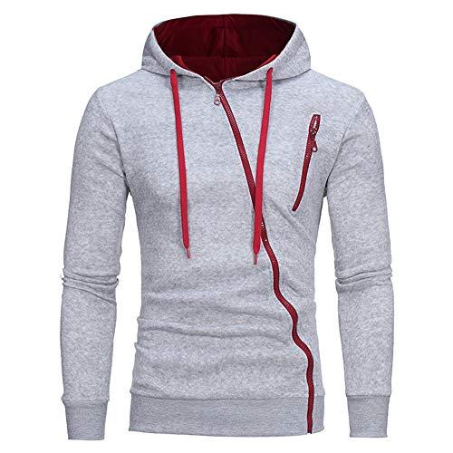 PRJN Mens Hoodie Diagonal Zipper Design Long Sleeve Hoodie Mens Hoodie Unique Diagonal Zipper Design Sweatshirt Solid Color Hooded Long Sleeve Sport Tops with Pocket Diagonal Zipper Hooded