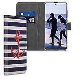 kwmobile Wallet Hülle kompatibel mit Samsung Galaxy A51 - Hülle mit Ständer Kartenfächer Anker Streifen Vintage Rot Dunkelblau Weiß