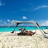 Tente de plage pop-up familiale - Abri solaire - Auvent portable UPF50 + - Avec sac de transport pour le camping, la pêche, les parcs et les pique-niques (gris, 3 x 3 m, 4 poteaux)