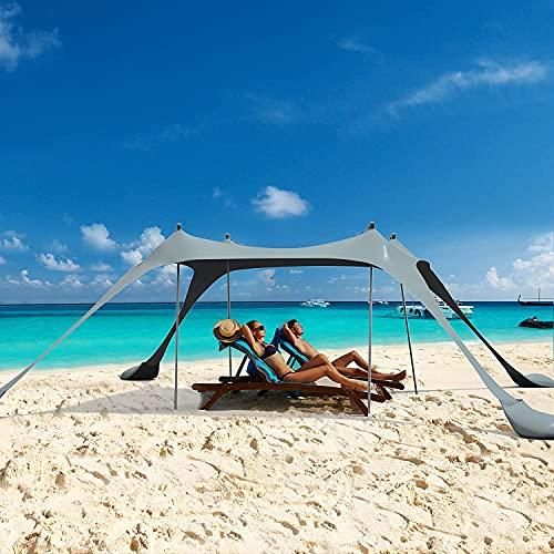 Toldo para playa, para playa, para la familia, refugio para el sol, para exteriores, toldo portátil UPF50+ con pala de arena, para camping, viajes, pesca, patio, parques (gris, 10 x 10 pies, 4 polos)