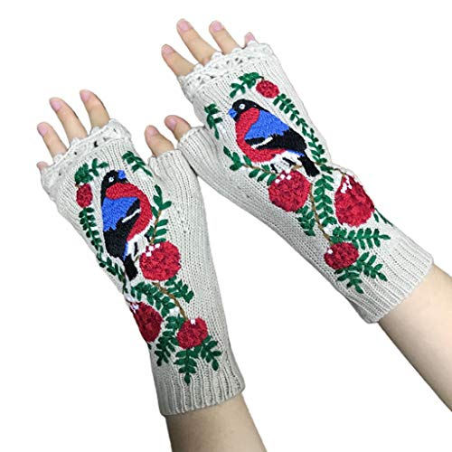 Guantes sin dedos para mujer de punto alargar sin dedos guantes de bordado de animales manoplas de brazos calentadores