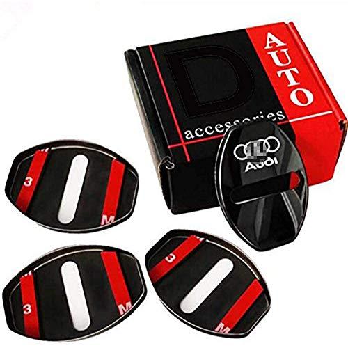 4Pcs Autotürschlossabdeckungen, Edelstahl, für Audi A1 A4 A5 A6 A7 A8 Q3 A3 Q5 Q7, Autotürschloss Striker Buckle Cap Schutzabdeckung Autozubehör Styling