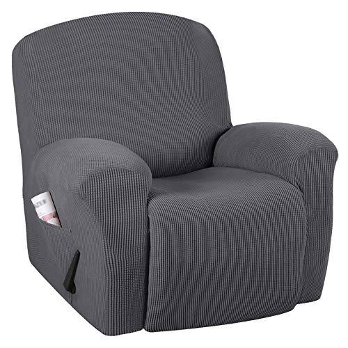 YRRA Jacquard Tramo Fundas para sillas reclinables, Antideslizante Funda de sofá Anti-Deslizante con Bolsillo Remoto Protector de Muebles para sofá para sillón reclinable,Gris