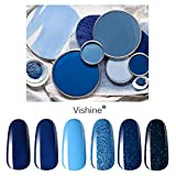 Vishine Lot de 6 Vernis à Ongles Gel Semi Permanent 8ml Bleu Turquoise Vert Soak Off UV LED Vernis à Ongles Gel Nail Polish Nail Art avec Cadeau boîte