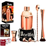 Rose Copper Cocktail Shaker Set Bartender Kit by BARILLIO: 24 oz Stainless Steel Martini Mixer,...