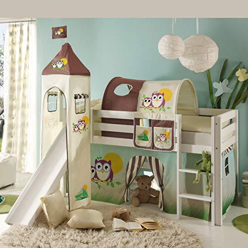 Möbel Akut Hochbett Snoopy mit Rutsche Kinderbett 90x200 cm Holz Kiefer weiß