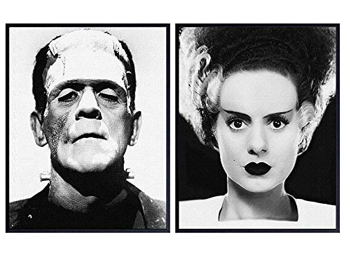 Frankenstein, Bride Poster Set - Gift for Vintage Hollywood Horror Monster Movie, Goth, Gothic Fan, Men, Teens, Kids Bedroom - 8x10 Funny Photo Photograph Wall Art Decor, Room Decorations Pictures