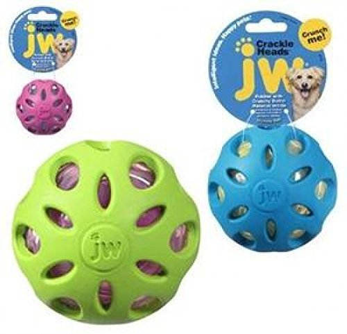 JW Crackle Heads Crunchy Ball - Botella de Agua con Sonido de Goma Duradera, tamaño Mediano - 7,6 cm