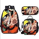 XMQW Mochila Escolar, Naruto Mochila para Adolescentes con Fiambrera y Estuche Conjunto de Mochila Escolar Gran Capacidad,A