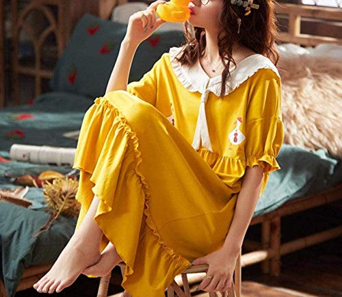 Pijama de Mujer Ropa para Mujer Mujeres S Conjuntos de Pijama Algodón de Dibujos Animados Lindo Dulce Princesa Solapa Camisón Camisones Suaves Sueltos Verano Ropa de hogar Femenina-XXXL-XXX