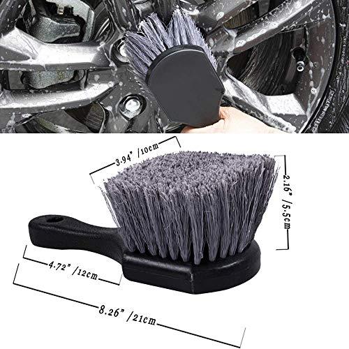 ホイール&タイヤブラシショートハンドル、ソフトブリッスルカータイヤホイールブラシクリーナー、タイヤ、オートバイ、金属表面用のリムディテールブラシ多目的使用