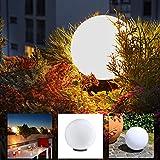 LHG Kugelleuchte 30 cm Ø, weiße Gartenlampe, Außenleuchte, Deko für Innen & Außen, Gartenbeleuchtung, Gartenkugel für Energiesparlampen E27 & LED - 230 V & 15W, Kugellampe mit IP44, wasserfest & kratzfest