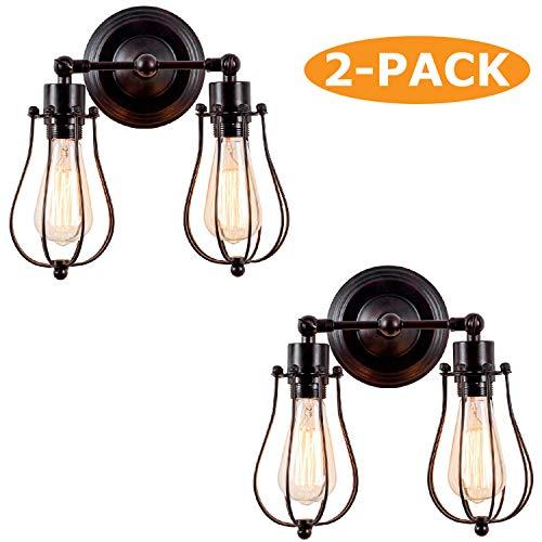 Industriële wandlampen, 2 stuks, rustieke wandlampen, draadkooi, verstelbare fitting, Edison vintage metaal, retro lamphouders voor slaapkamer (zonder gloeilamp) (met 2 licht) (roest)