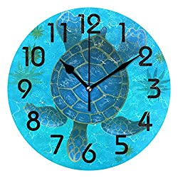 Naanle Stylish Cute Cartoon Underwater Sea Turtle Round Wall Clock, 9.5 Inch Battery Operated Quartz Analog Quiet Desk Clock for Home,Office,School