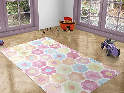 Oedim Alfombra Infantil Flores Colores para Habitaciones PVC | 95 x 133 cm | Moqueta PVC | Suelo vinílico | Decoración del Hogar | Suelo Sintasol | Suelo de Protección |