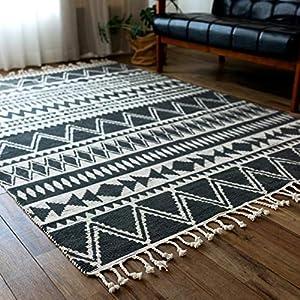サヤンサヤン ネイティブ柄 幾何学 洗える ラグマット 100x150 cm 1畳 ブラック 手織り