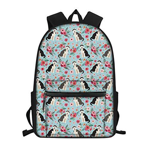 FUIBENG Water-repellant Kids Backpack Cartoon Siberian Husky Print Floral School Bookbag with Bottle Pocket
