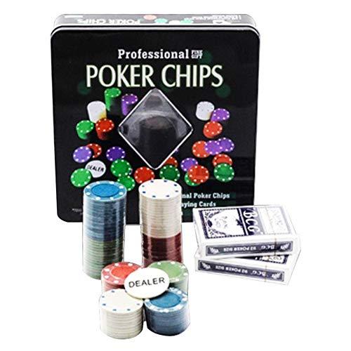 LQIAN Fichas de póquer Clay Poker Chips Set Casino Set De Casino Texas Poker Chips 100 Piezas Juego Tokens Plastic Chips Juegos Tarjetas Fiesta Casino Poker Chips Tarjetas Set De Póker