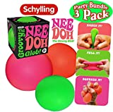 Schylling NeeDoh The Groovy Glob! Squishy, Squeezy, Stretchy Stress Balls Green, Orange & Pink Complete Gift Set Party Bundle - 3 Pack