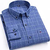 Camisa Hombre Manga Larga,Camisa A Cuadros De Algodón Camisas Casuales De Rayas Clásicas De Cuadrícula Azul para Hombre con Botones De Bolsillo Padre Novio, XXL