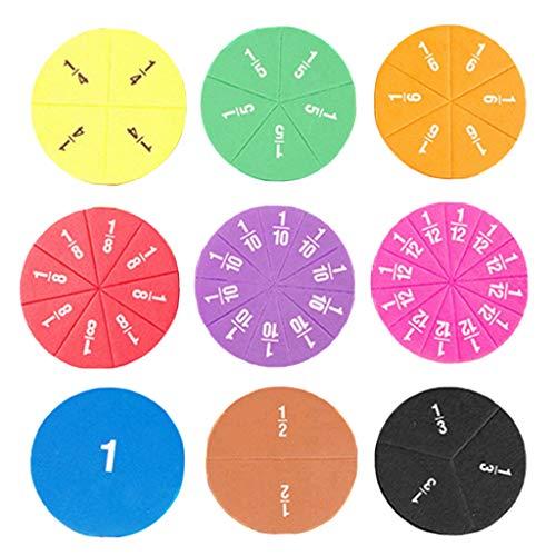 F Fityle 51 Piezas de Azulejos Magnéticos Rainbow Circles Fraction Set, Juguetes de Conteo Y Matemáticas para Niños