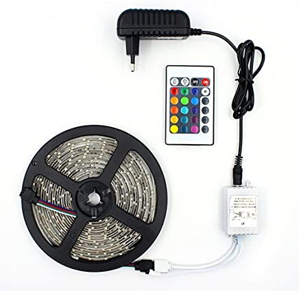 FITA LED RGB 5050 ROLO 5M COM FONTE 12V 5A E CONTROLE REMOTO