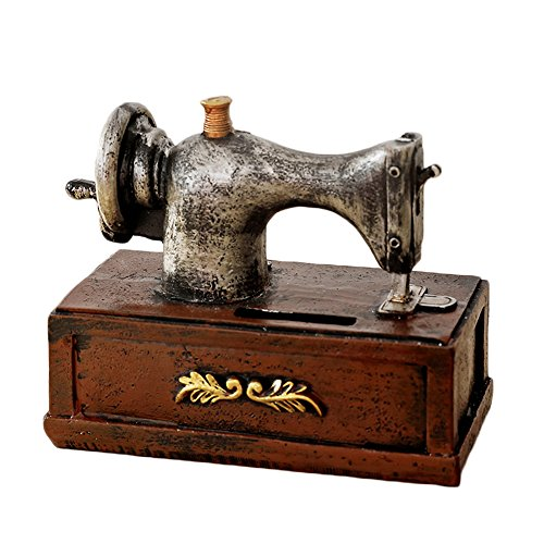 Colias Wing Home Decor Vintage Style Sewing Machine Design Coin Bank Money Saving Bank Toy Bank Cents Penny Piggy Bank