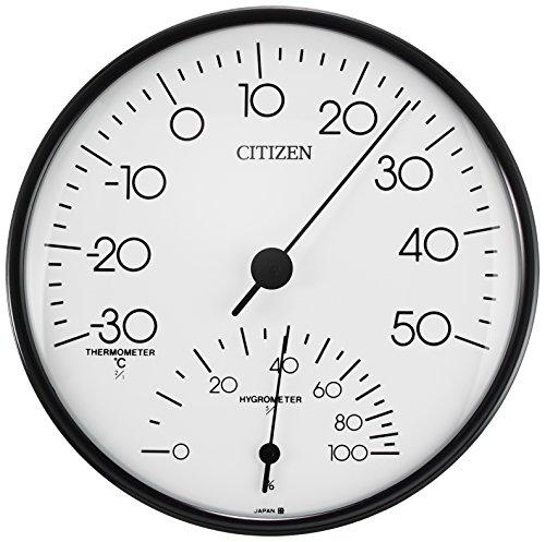 リズム(RHYTHM) シチズン 温度計 ・ 湿度計 アナログ 掛け タイプ TM109 白 CITIZEN 9CZ057-003