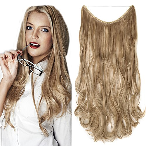 Haarteil Extensions Haarverlängerung ein Tresse mit Unsichtbarer Draht Haare Haarverdichtung Gewellt Sandy Blonde & Blond Bleichen-1 50 cm