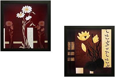 SAF Flower Textured UV Print Painting(Set of 2, 30 cm x 2 cm x 30 cm) SANFPD141 SANFPD141