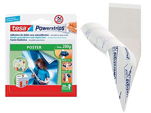 tesa Spa 84458Powerstrips Strips für Poster, 20Stück, weiß