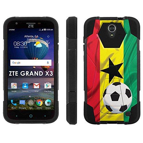 ZTE Uhura Grand X3 Z959 [Warp 7] Phone Cover, Ghana Flag with Soccer Ball - Black Hexo Hybrid Armor Phone Case for ZTE Uhura Grand X3 Z959 [Warp 7]