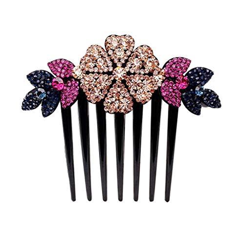 Shan-S Rhinestone Double Flower Hair Clip, Women Girl Elegant Delicate Charming Hairpin,Elegant Flexible Durable Pearls Design Women Hair Dovetail Clip Jewelry Accessories Headwear