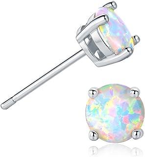 GEMSME 18K White Gold Plated 6mm Round White Opal Stud Earrings For Women