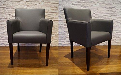 Quattro Meble Breite Echtleder Esszimmerstühle Kross Arm dunkelgrau Leder & Massivholz Stühle Lederstühle Sessel mit Armlehnen Echt Leder Esszimmer Stuhl