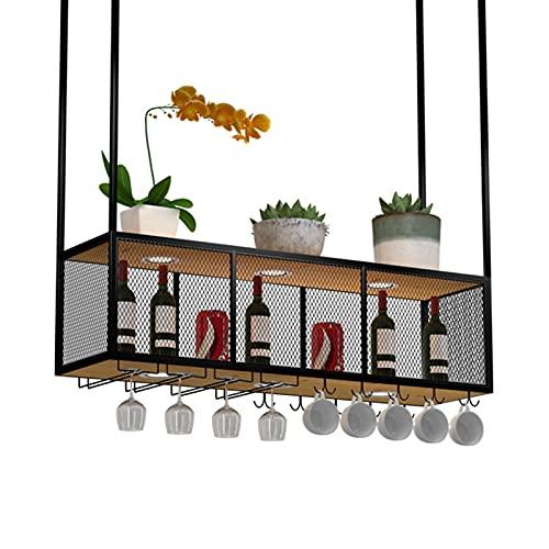 WWJ Botelleros de Hierro Metálico para Bares Botelleros para Vino Estilo Industrial Barra montada en el Techo Colgante de Pared Estante de Vidrio y Soporte para Botella Colgante (Color: Negro)