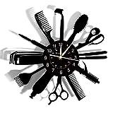 Smotly Orologio da Parete in Vinile, Barbiere Strumento di Clock Theme Record di Parete, a Mano Orologio Creativo Decorazione della Parete Barbiere Doni.