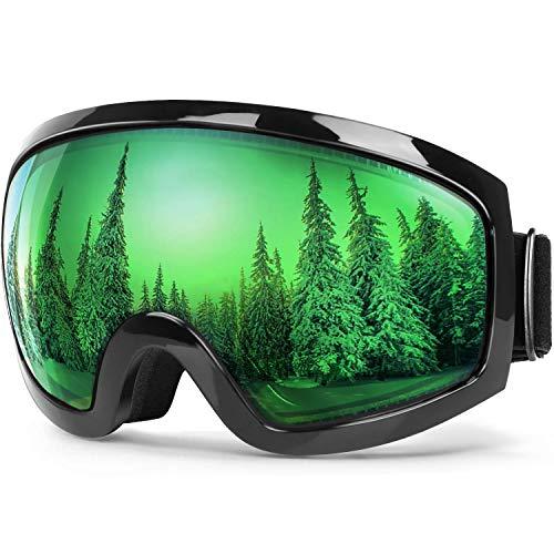 BFULL Skibrille Für Damen und Herren Kids Brillenträger Skibrille 100% OTG UV400 Anti-Fog UV-Schutz Skibrillen Snowboard Skibrille Schutz Ski Goggles (Green Lens VLT 61%)