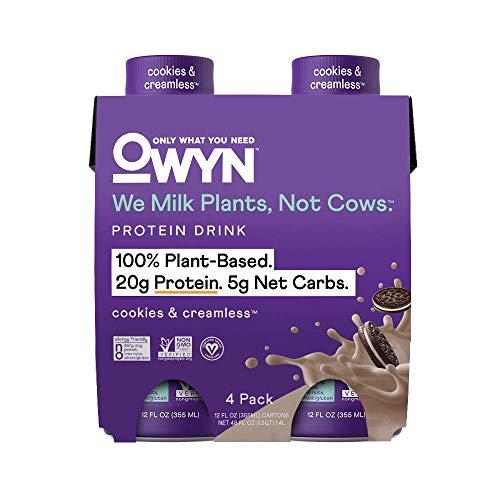 OWYN - 100% Vegan Plant-Based Protein Shakes   Cookies N Cream, 12 Fl Oz (Pack of 4)   Dairy-Free, Gluten-Free, Soy-Free, Tree Nut-Free, Egg-Free, Allergy-Free, Vegetarian