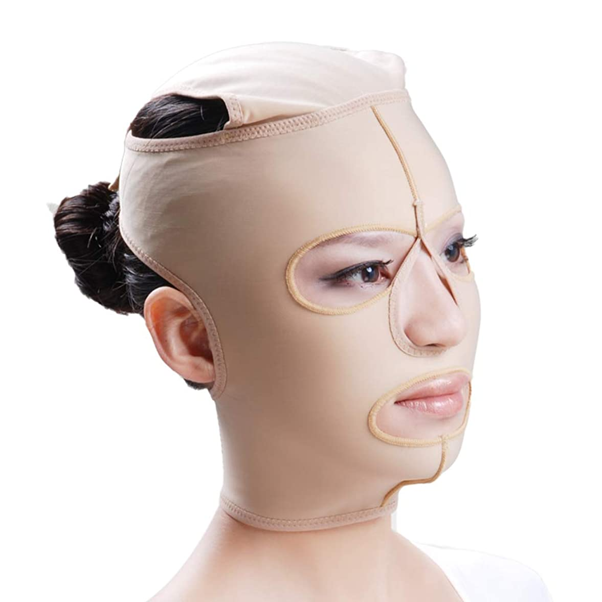 望むメドレー忍耐LJK フェイスリフトマスク、フルフェイスマスク医療グレード圧力フェイスダブルチンプラスチック脂肪吸引術弾性包帯ヘッドギア後の顔の脂肪吸引術 (Size : M)
