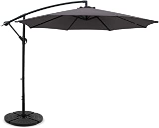 Instahut Cantilever Umbrella Outdoor Garden Sunshade UV-Resistant Umbrella with Base-Charcoal