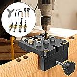 Kacsoo 6/8/10/15mm Kit de clavijas para carpintería con clip de posicionamiento Guía perforación ajustable,3 en 1 Localizador de perforadoras,para trabajar la madera para placa de 12-50 mm