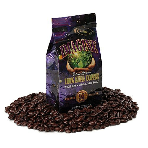 Kona Coffee Beans by Imagine - 100% Kona Hawaii - Medium Dark Roast Whole Bean 8 oz Bag (8oz)