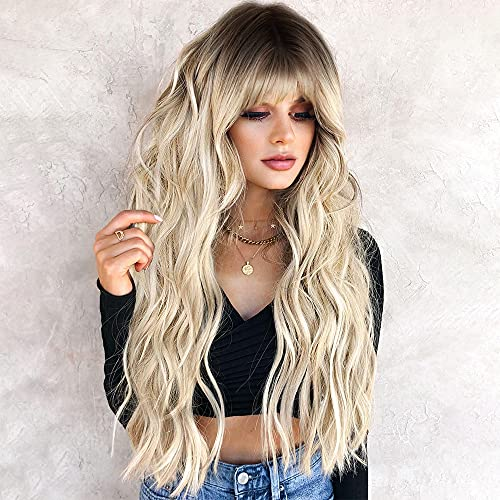 ORSUNCER Long Curly Wavy Synthetic Hair Wigs with Bangs for Women Ombre Cool Brown to Light Blonde Wig Long Heat Resistant Hair Wigs for Daily Party Wig 26 Inches