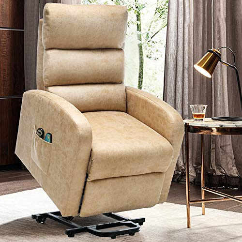 ERGOREAL Power Lift Chair Recliners for Elderly Heat&Massage Electric Recliner Lift for Seniors, Tufted Small Lift Recliner Premium Suede with Remote Control, Motorized Single Sofa-Maize