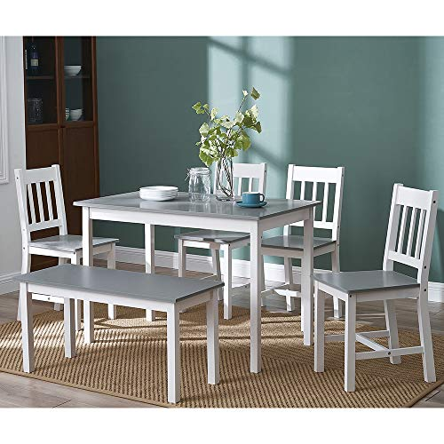 Panana Solid Wood Pine Dining Table Set With 4 I Shape Chairs, 1pc Bench Set Kitchen Room Furniture (I sharp With Grey)