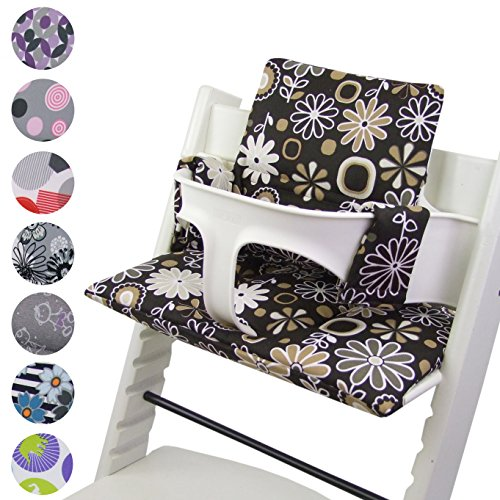 BAMBINIWELT Reservebekleding, kussenset voor hoge stoel/kinderstoel Stokke Tripp Trap, stoelverkleiner (DESIGN) bruin bruine bloemen