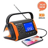 Emergency NOAA Weather Crank Solar Powered Portable Radio with 4000mAh Battery...