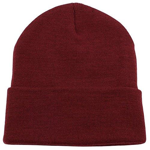 PZLE Warm Winter Hat Knit Beanie Skull Cap Cuff Beanie Burgundy
