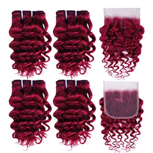 Fashion Line Brazilian Virgin Deep Wave Human Hair 4 Bundles With Lace Closure 50G/Pcs Curly Human Hair Weft Short Bob Style Burgundy Color (99J Burgundy)
